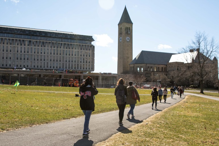 The Arts Quad on March 13, 2020. One month after announcing campus would reopen, Cornell launches a public health campaign, hoping to influence student behavior in the fall.