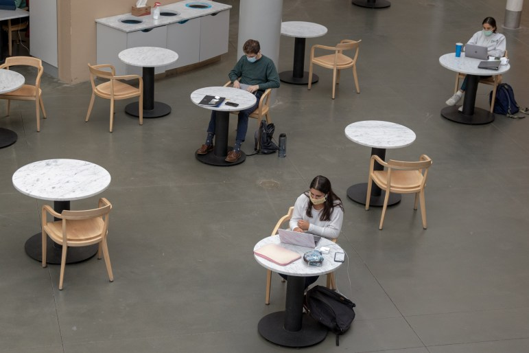 The Klarman atrium, normally filled with students, sits emptier than usual during lunchtime on Monday.