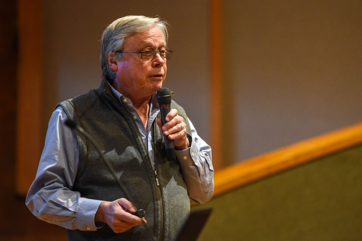 Professor Robert Howarth, ecology and evolutionary biology, presents on divestment during the Faculty Senate meeting at Schwartz Auditorium on Feb. 12, 2020.