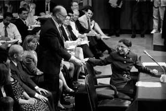 Ruth Bader Ginsburg '54 at her Supreme Court confirmation hearings before the U.S. Senate Judiciary Committee in Washington, July 21, 1993.