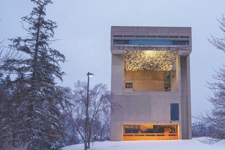 Johnson Art Museum in the snow.