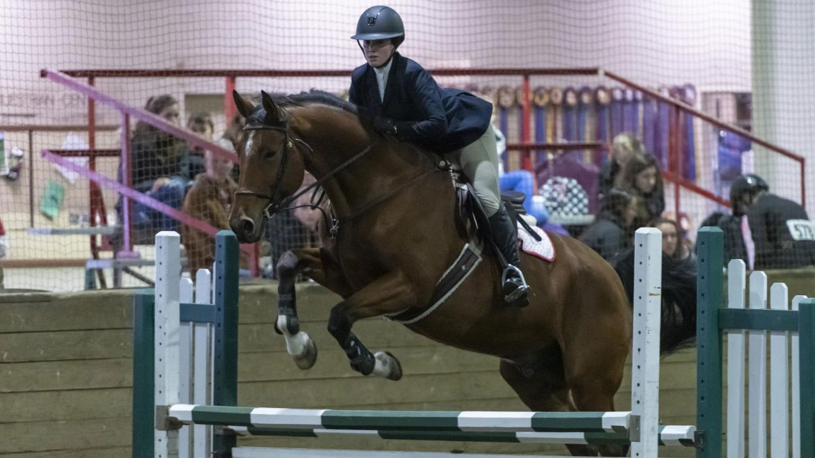 Senior captain Lena Reeb in the Open Fences division during a home competition last season.