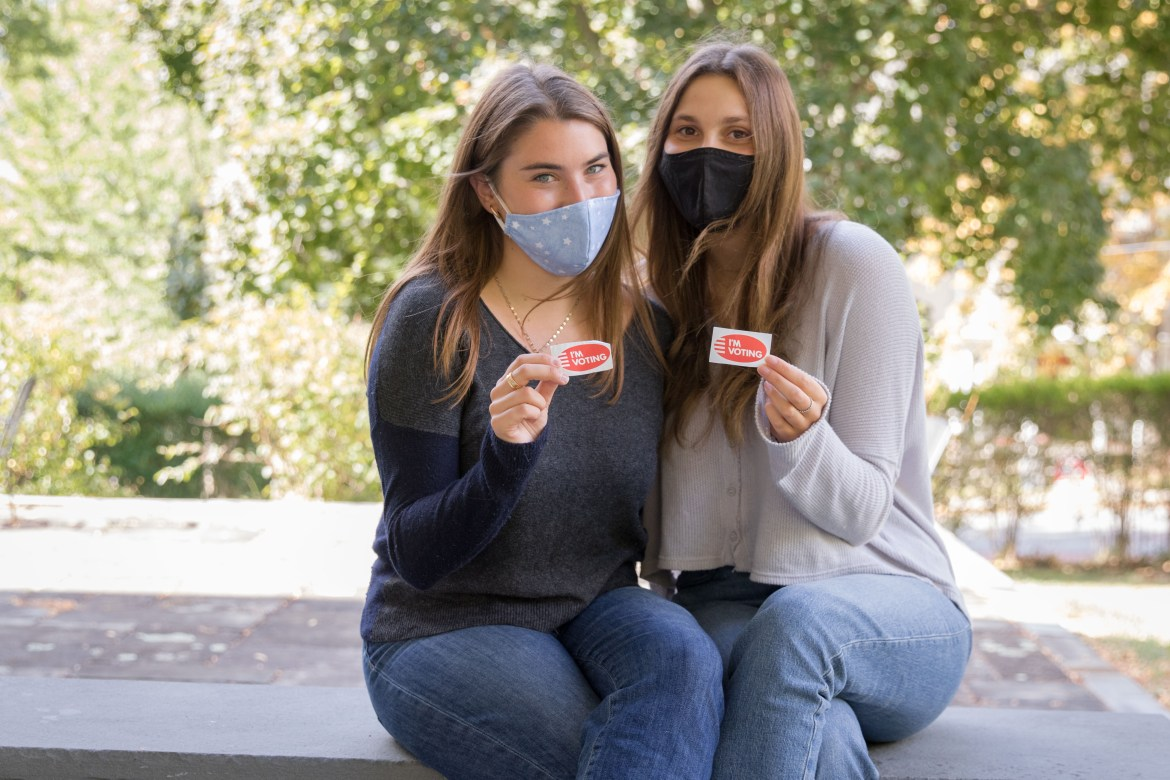 """Samantha Landsman '22 and Catherine Silvestri '22 created """"Rock the Polls,"""" an initiative to help members of Greek life organizations register to vote."""
