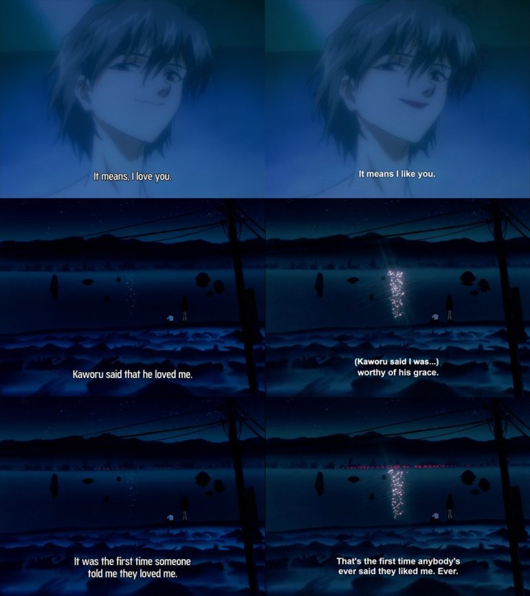 Comparison of subtitles for Neon Genesis Evangelion (1995) provided by a fan on Twitter. The left column is the original version of English translation, and the right column is the version initially by Netflix, which has since been modified after drawing much criticism.