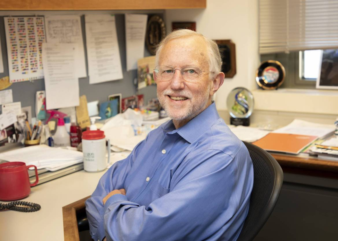 Charles M. Rice, professor at Weill Cornell Medicine, in his office.