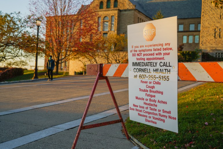 A COVID-19 sign on campus on Oct. 18th. A case spike in Tompkins County has health officials concerned.