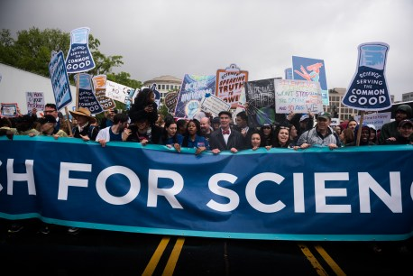 Among the organizers of the March for Science in 2017 was Bill Nye '77, who led a group of scientists and science advocates in a march in front of the Washington Monument.