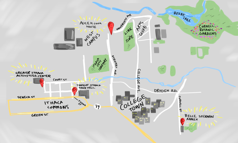 A map of the four polling places closest to Cornell.