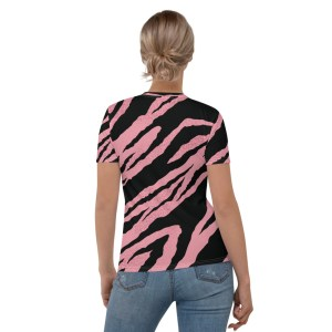 'IAm:Creative' Corner 10 Creative Women's Pink & Black Print T-shirt