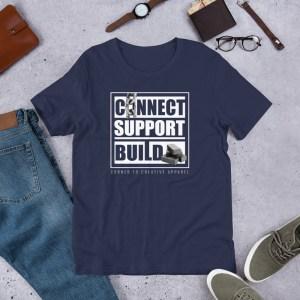 Connect | Support | Build Unisex T-Shirt (Bella + Canvas 3001) (Dark Color)