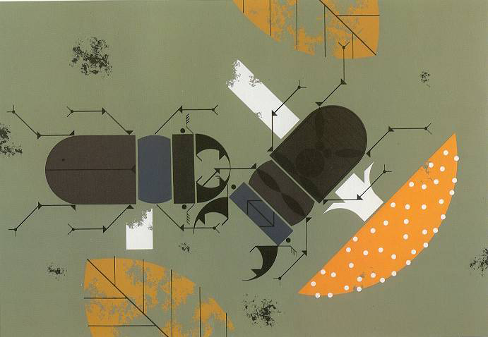 Beetles by Charley Harper. The Giant Golden Book of Biology, 1961.