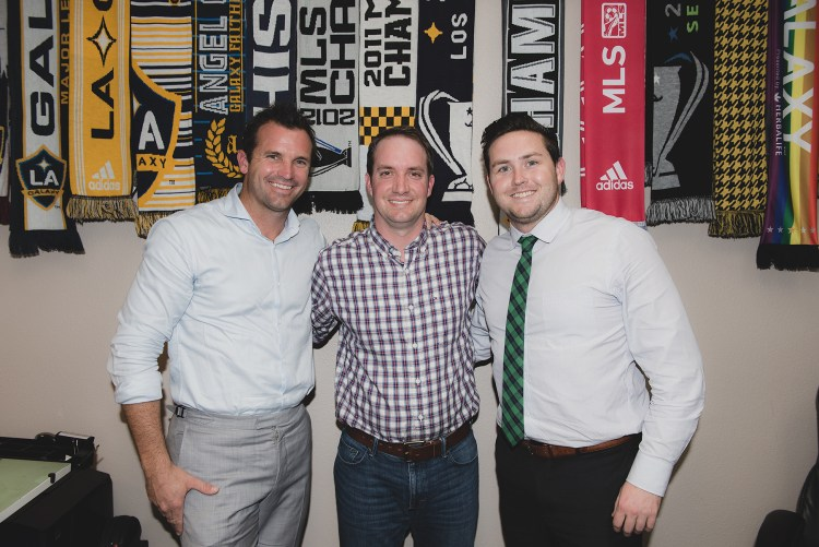 Corner Of The Galaxy: Josh Guesman interviews LA Galaxy President Chris Klein and VP Brendan Hannan. Photo by Steve Carillo/Carillo Images
