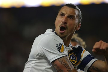 Zlatan Ibrahimovic scores in the LA Galaxy victory over LAFC on July 19, 2019 - Photo by Steve Carrillo