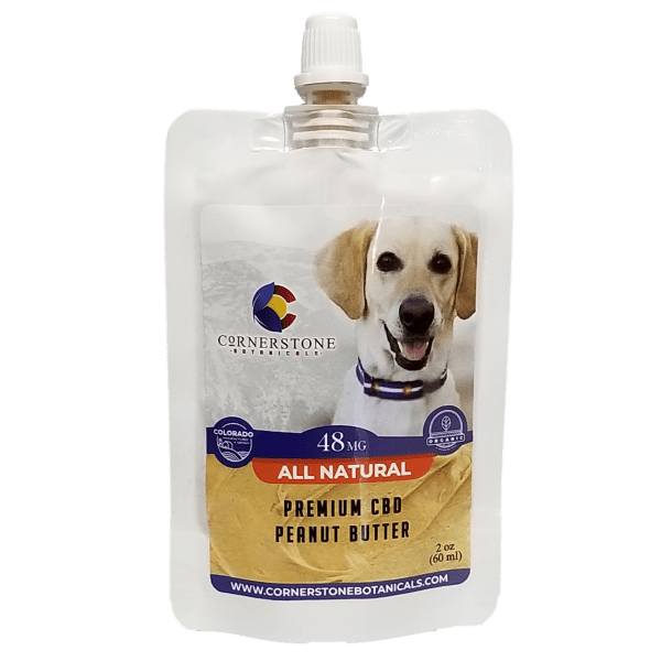 squeezable pouch of CBD peanut butter for pets