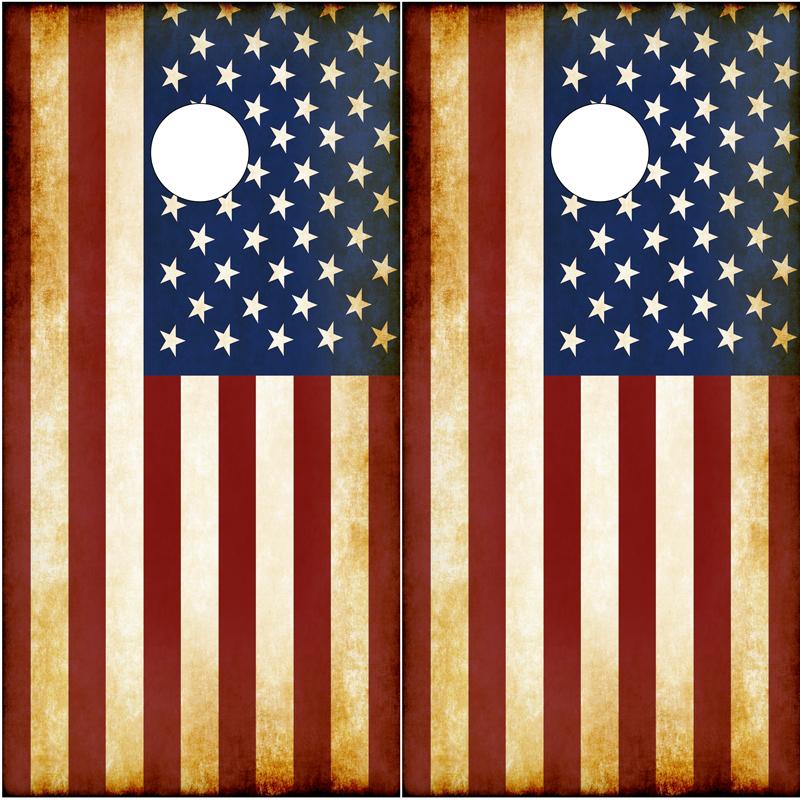 American-Flag-Rustic Cornhole Board Graphics Wrap
