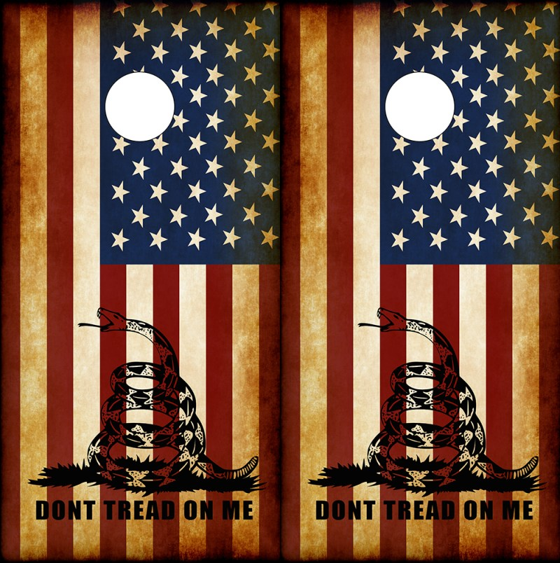Don't Tread On Me American Flag Corn Hole Board Wraps