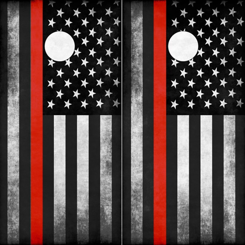Firefighter Thin Red Line American Flag Cornhole Board Wrap Wraps