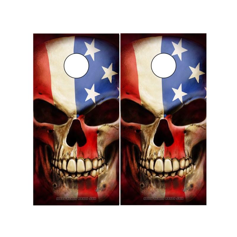 Cornhole Board Skull Wraps with American Flag