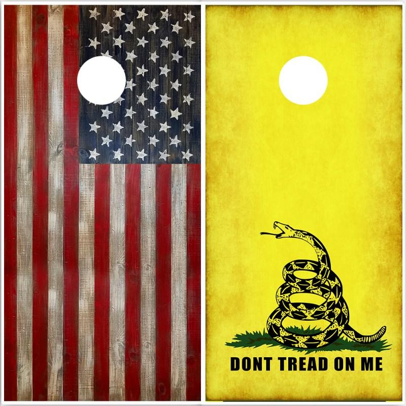 Cornhole Wrap Set American Flag Gadsden Flag Don't Tread on Me