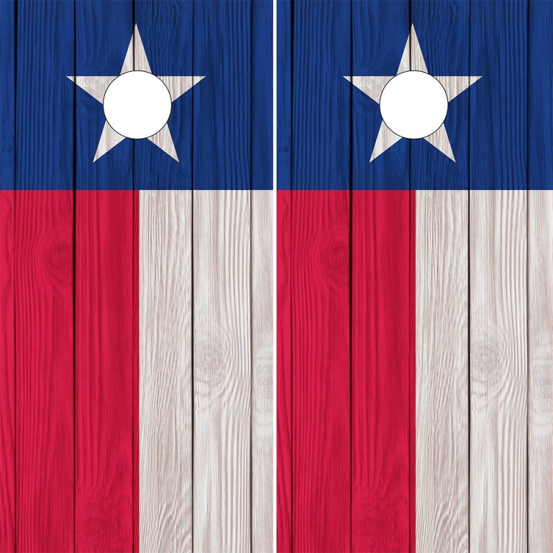 Cornhole Wraps Texas Flags Wood Grain Pattern