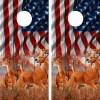 American Flag Buck N Deer Cornhole Board Wraps