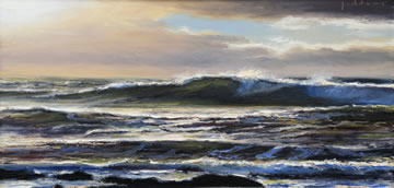 Morning-Surf---Oil-on-Canvas--30-x-60-cm-