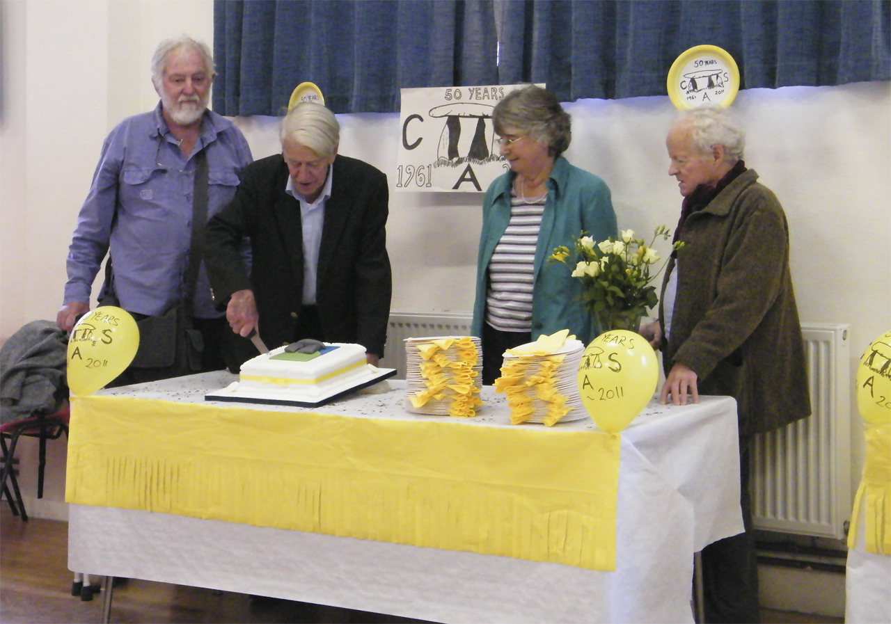 Cutting the CAS 50th birthday cake