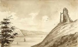 The Folly Tomb Memorial overlooking the Tamar and Plymouth Sound at Mount Edgcumbe, 1873