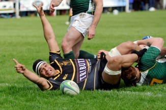 Cornwall, flanker Sam Matavesi (Camborne) celebrates the try during the Bill Beaumont County Championship match between Cornwall and Hertfordshire at Recreation Ground on May 20th , Camborne, Cornwall. - Photo mandatory by-line: ©Simon Bryant/Iktis