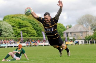 Cornwall, wing Lewis Vinnicombe (Redruth) swan dives over for a try during the Bill Beaumont County Championship match between Cornwall and Hertfordshire at Recreation Ground on May 20th , Camborne, Cornwall. - Photo mandatory by-line: ©Simon Bryant/Iktis