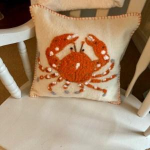 Handmade by Julie Cushion - crab
