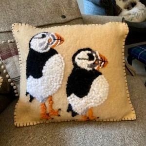 Handmade by Julie Cushion - Puffins