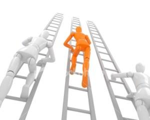 Orange stick man climbing on ladder
