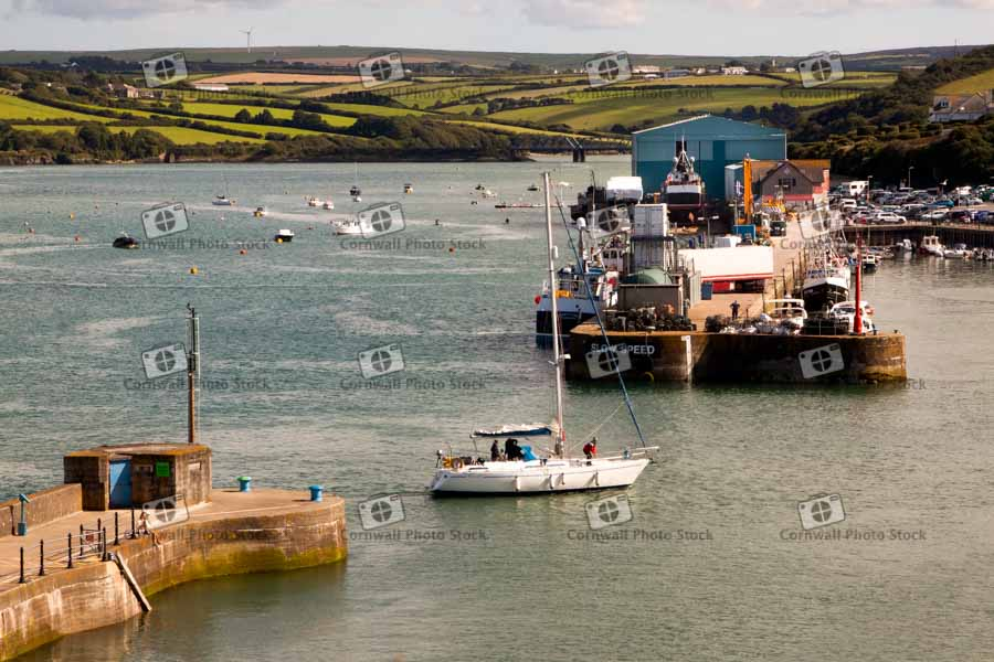 Padstow Harbour Entrance With Sailing Yacht Arriving