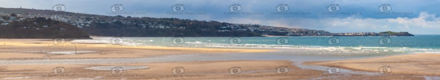 St Ives With Hayle Beach In Foreground Ultra-Panorama