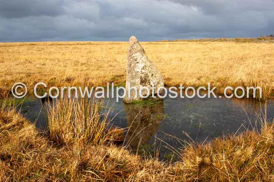 Ancient Rock In Pool On Bodmin Moor