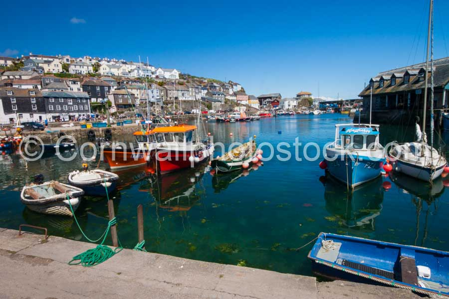 Mevagissey Harbour With Fishing Boats In Foreground