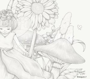 バラの妖精線画