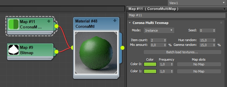 How to use the Corona MultiMap    Corona Renderer Helpdesk for 3ds     Identical colors can be used as both items in the MultiMap  The variation  is achieved by increasing the random hue and gamma values
