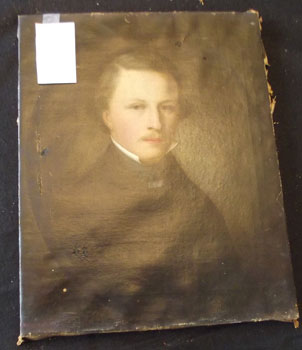 Restoration of self-portrait of Nicolas Marshall 4 holes in original painting. Marshall renowned for Famous Oil Painting of Pres Lincoln, done while in White House