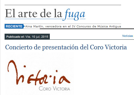 El Arte de la Fuga destaca la versatilidad del Coro Victoria, que trabaja con diversas formaciones, desde el Coro de Cámara al trabajo de los cantantes solistas en Misas a varios coros.