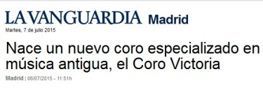 La Vanguardia: nace el Coro Victoria