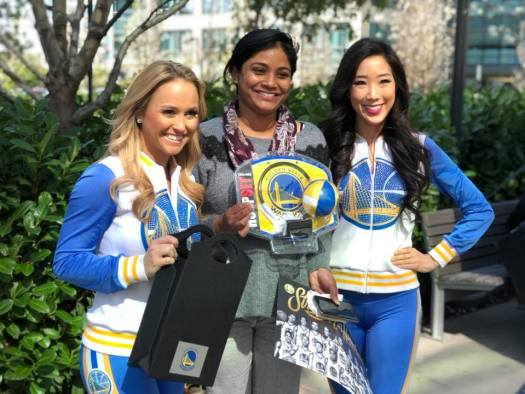 Realtor.com® employee with Warriors dance team