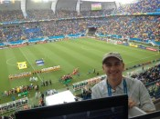 Texas-based AP sports writer Jim Vertuno poses before the Mexico-Cameroon match at the World Cup in Natal, Brazil. (Photo by Carlos Rodriguez)