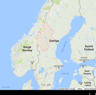 Location of Jämtland (left) and Västernorrland (right), likely transit areas of the forward-deployed USMC brigade if the port of Gävle is to be used.