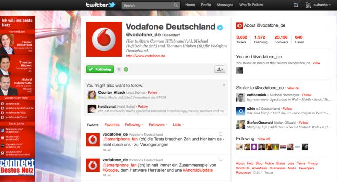 Vodafon Twitter Account