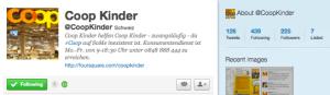 CoopKinder Twitteraccount, nach 10 Tagen 225 Follower