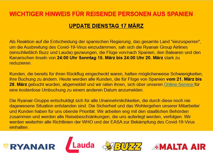 Wichtiger Hinweis Fur Reisende Personen Aus Spanien Ryanair S Corporate Website