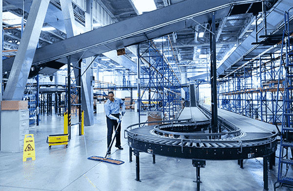 Custodian Cleaning Manufacturing Facility in Grand Rapids