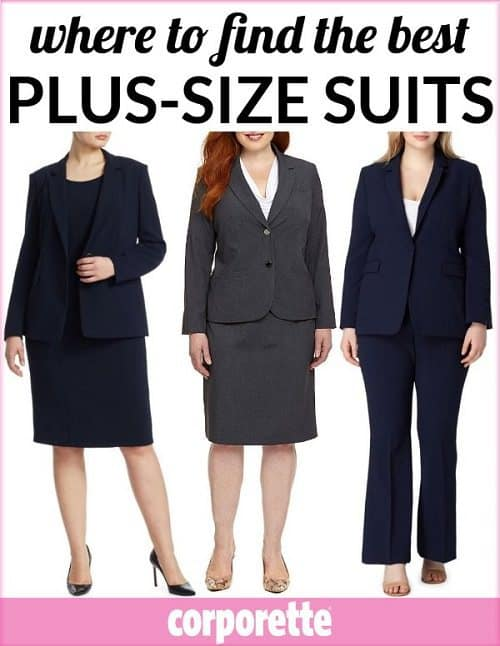 Wondering where to find stylish plus-size suits for work? We rounded up a TON of shops and brands (including some foreign ones) that make interview suits and other traditional, conservative suiting options in plus sizes for women lawyers and more!